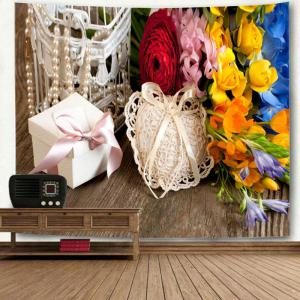 Wall Hanging Flowers and Gift Print Tapestry -
