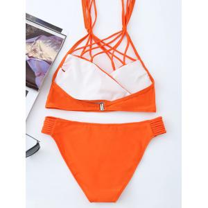 Strappy Caged Halter Bikini Swimsuit -