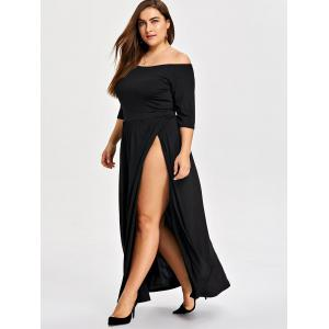Plus Size Slit Off The Shoulder Dress -