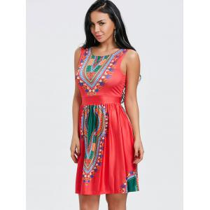 Ethnic Print Sleeveless Dress -