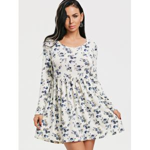 Long Sleeve Tiny Floral Print Dress -