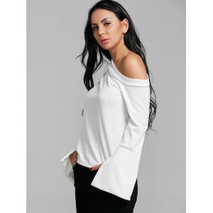 Skew Collar Flare Sleeve Blouse -