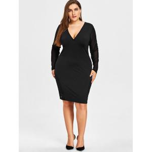Plunging Sheer Mesh Panel Plus Size Dress -