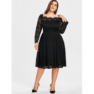 Square Neck Lace Plus Size Formal Dress -