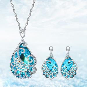 Faux Aquamarine Teardrop Peacock Jewelry Set -