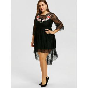 Plus Size Lace Embroidery High Low Dress -
