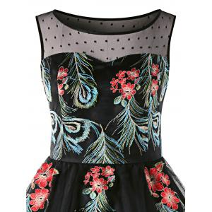 Plus Size Sleeveless Embroidery 50s Swing Dress -