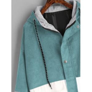 Color Block Hooded Corduroy Jacket -