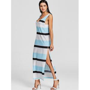 Plunging High Slit Striped Maxi Beach Dress -
