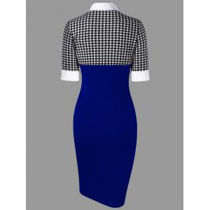 Side Slit Houndstooth Fitted Pencil Work Dress -