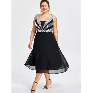 Plus Size Sequined Flowy Party Dress -