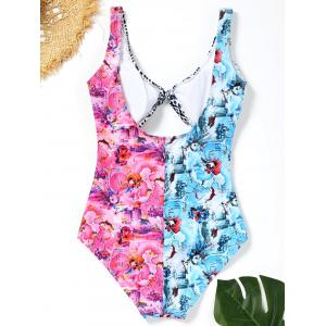 Plunge Neck Printed Cut Out Swimsuit -