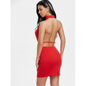 Draped Halter Neck Backlesss Dress with Choker -