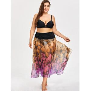 Plus Size Feather Print Convertible Cover-up Dress -