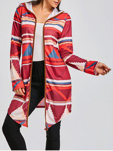 Outfit Hooded Color Block Geometric Print Cardigan
