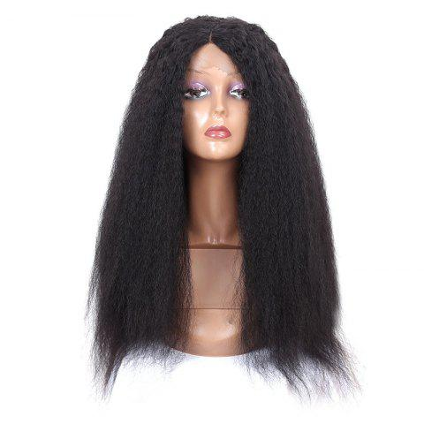 Fashion Long Center Parting Fluffy Afro Curly Synthetic Lace Front Wig