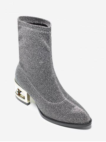 Metallic Heel Sequined Cloth Mid-Calf Boots