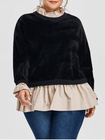 New Plus Size Velvet Flocking Drop Waist Sweatshirt