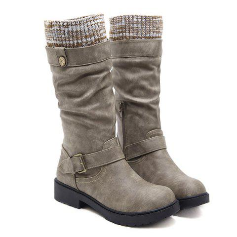 Online Buckle Strap Stitching Low Heel Mid Calf Boots
