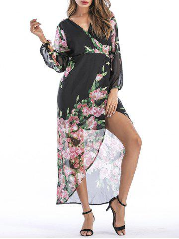 Unique V Neck Wrap Floral Printed Dress