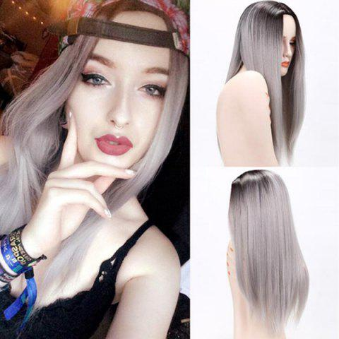 Discount Long Center Parting Straight Ombre Synthetic Wig