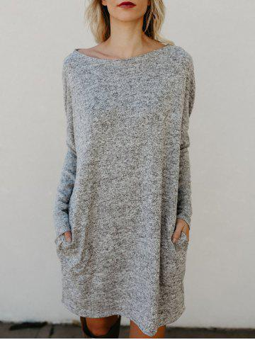Store Round Neck Long Sleeve Sweater Dress