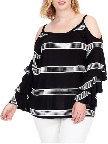 Sale Plus Size Cold Shoulder Striped Insert T-shirt