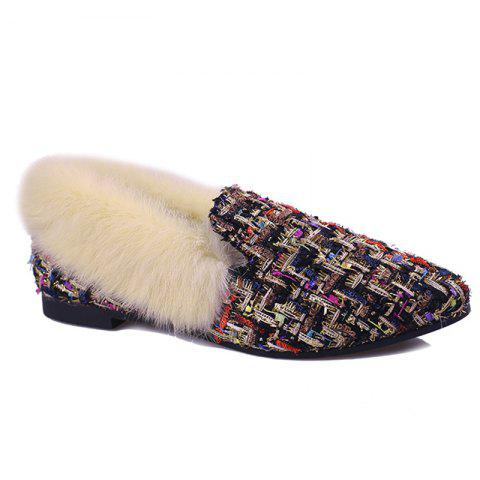 Fashion Faux  Fur Collar Color Block Flat Shoes