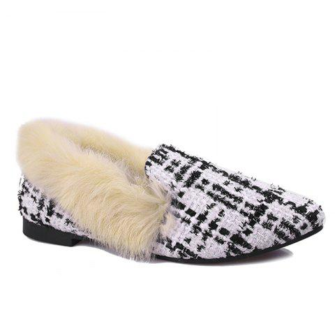 Best Faux  Fur Collar Color Block Flat Shoes