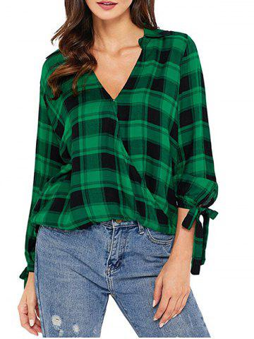 Trendy V Neck Checked High Low Shirt