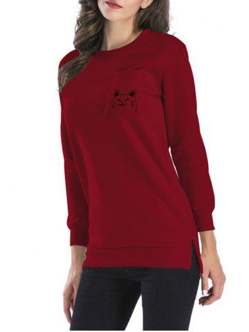 Shop Side Slit Back Cat Pattern Sweatshirt