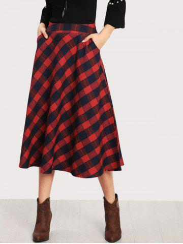 Best Front Pockets Plaid Skirt