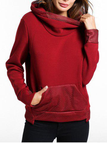 Sweat-shirt à poche kangourou avec empiècements en maille
