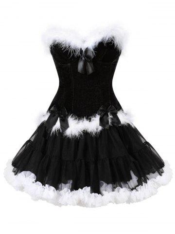 Chic Two Piece Christmas Ruffled Corset Dress