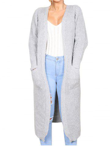Affordable Collarless Front Pockets Longline Cardigan