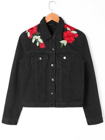 Floral Embroidery Applique Shirt Jacket
