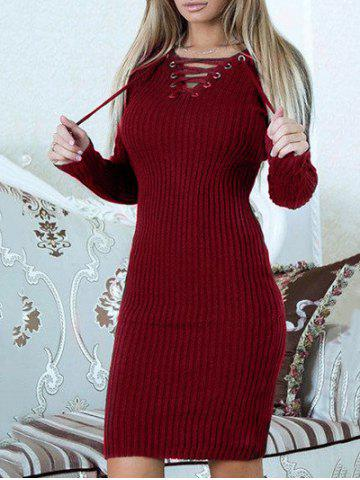 Shops Lace Up Ribbed Sweater Dress