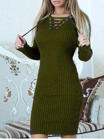 Fashion Lace Up Ribbed Sweater Dress