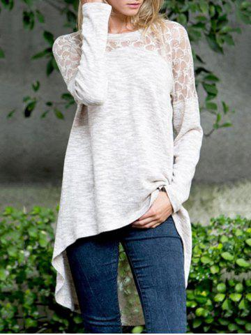 Outfit Lace Panel Asymmetrical T-shirt