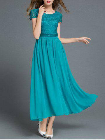 Discount Lace Panel Short Sleeve A Line Dress