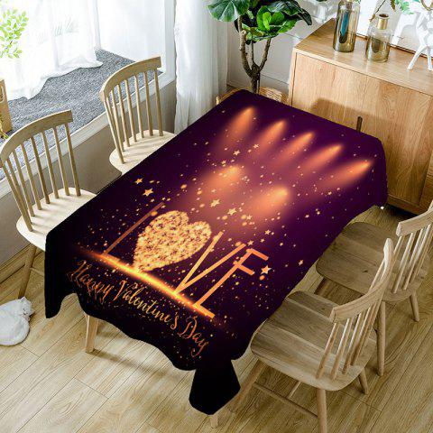 Fashion Love Radiance Valentines Day Print Waterproof Table Cloth