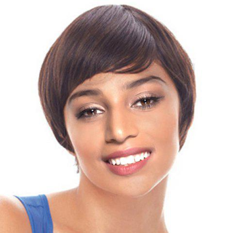 Latest Short Inclined Bang Straight Heat Resistant Synthetic Wig