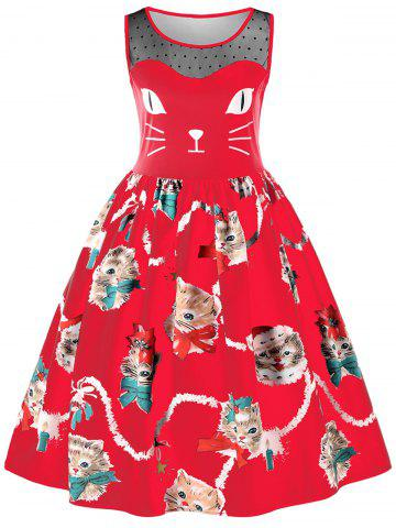 Cheap Sleeveless Kitten Print Swing Dress