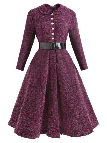 Hot Collared Button Belted Vintage Dress
