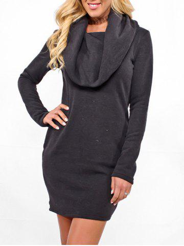 Discount Cowl Neck Long Sleeve Mini Dress
