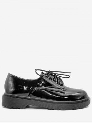 Sale Patent Leather Lace Up Casual Shoes