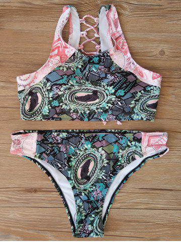 Cheap Back Criss Cross Print Bikini Set