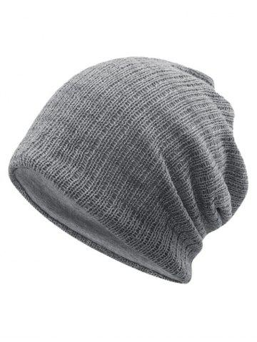 Light Grey Outdoor Striped Pattern Crochet Knitted Slouchy Beanie