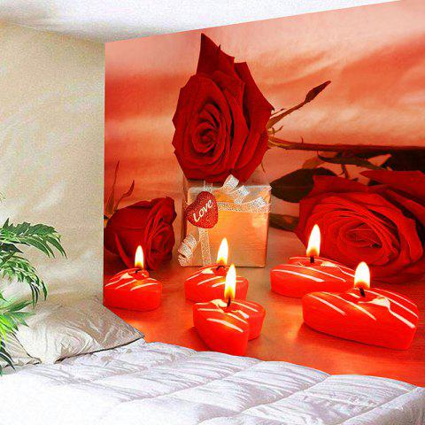 Chic Valentine's Day Gift Roses Heart Candles Print Wall Tapestry