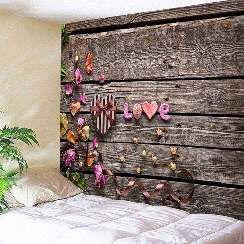Discount Valentine's Day Gift Box Wood Grain Love Printed Wall Tapestry